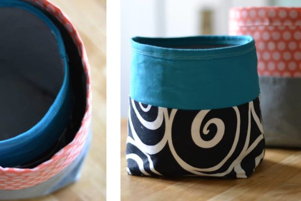I made these fabric canisters a little