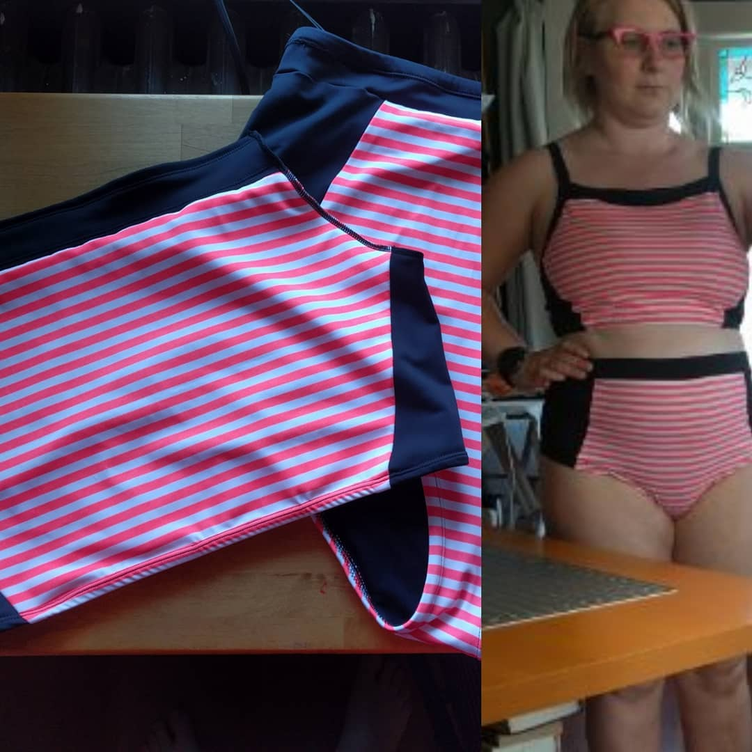 My first me-made swimsuit, made with the guidance of Jenny from the @themakehousevic! And my participation in the curvyyearofsewing... It's the cashmeretteipswich. I kept forgetting to get a better picture! Apparently when I go to the beach I don't remember to take photos :-) curvysewingcollective cscmakes @cashmerette