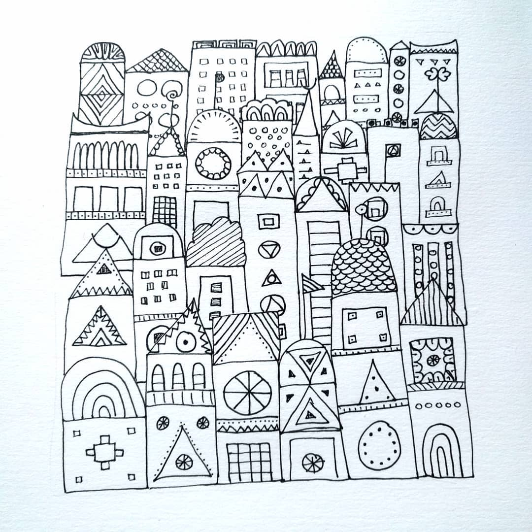 Quirky town  drawing ink illustration