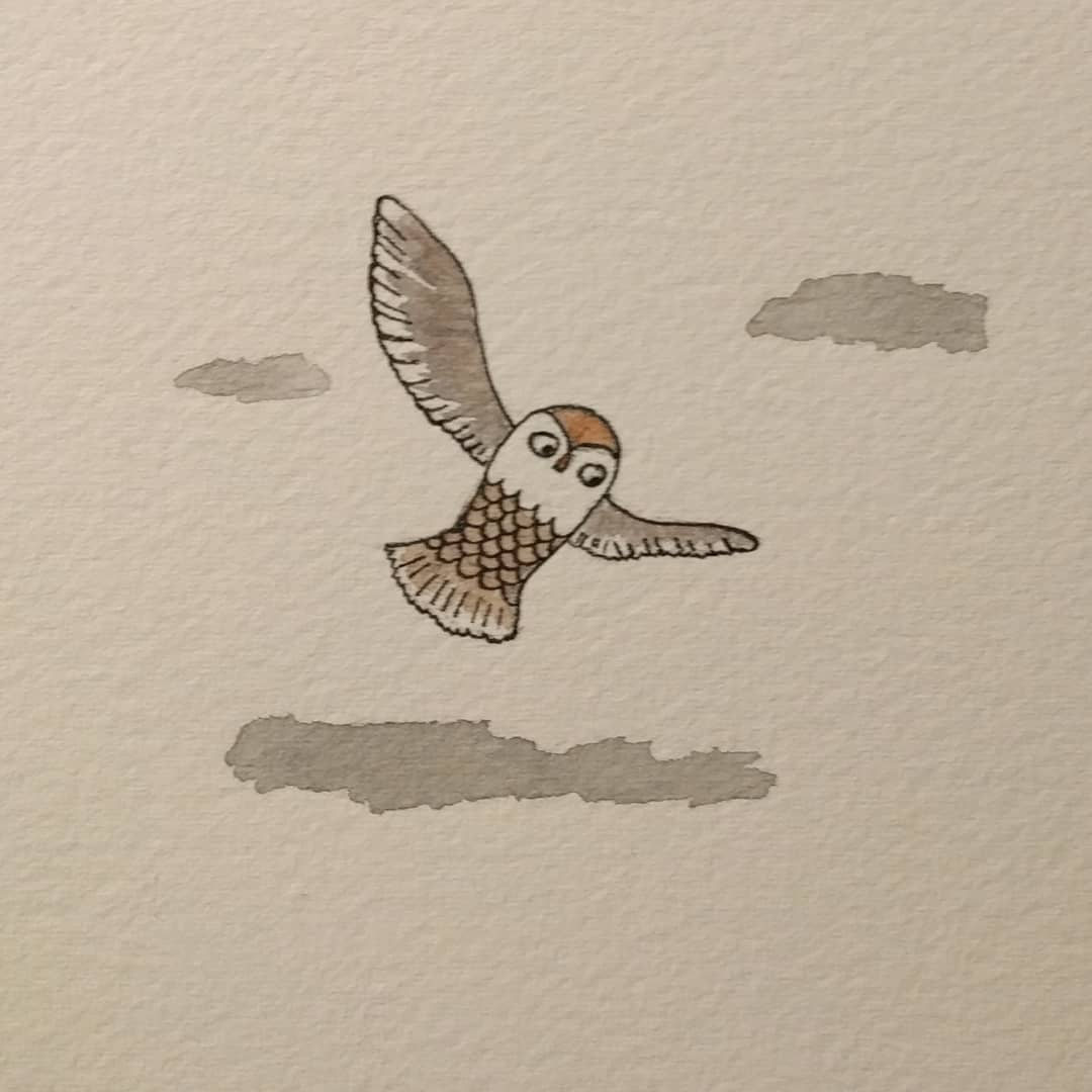 Owls are a bit unnerving when they are flying, even in illustrations... I had to work hard to make this anything but a scary predator.  makersgonnamake illustration drawing owlsofinstagram